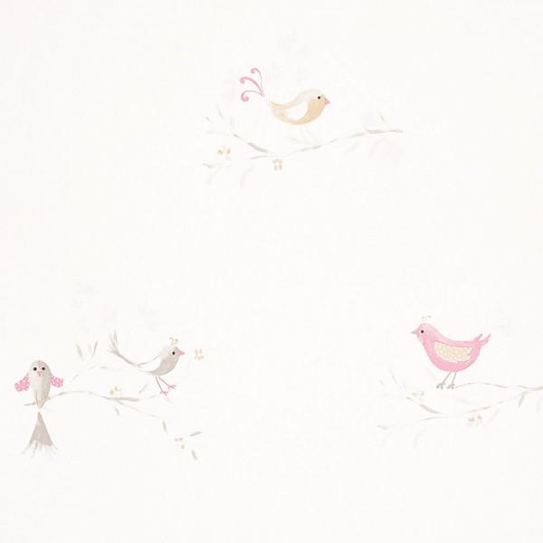 Casadeco Douce Nuit Tapete romantische Vögel rosa grau