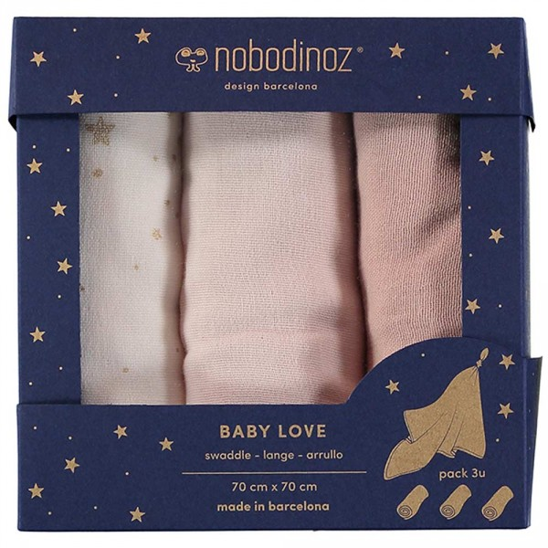 "Nobodinoz Baby Mulltuch ""Love"" Box Bloom rosa"