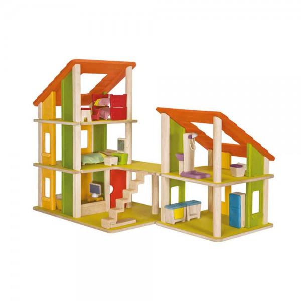 Plan Toys Puppenhaus kleines Chalet Holz inkl. Möblierung