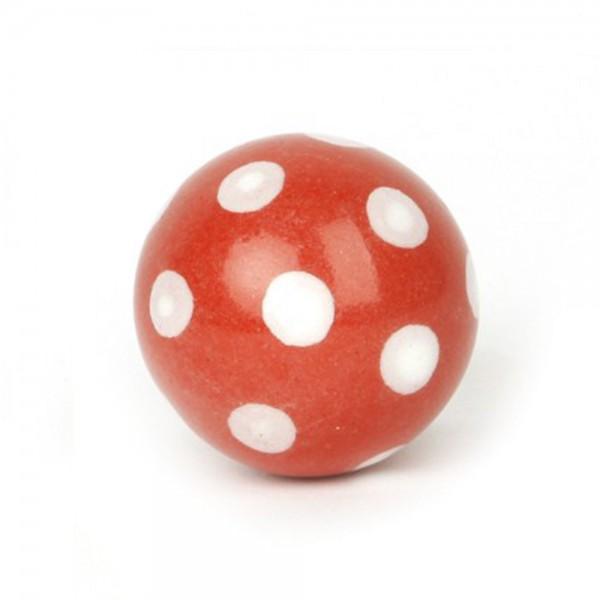 Knaufmanufaktur Möbelknauf Ball Keramik rot Punkte weiss