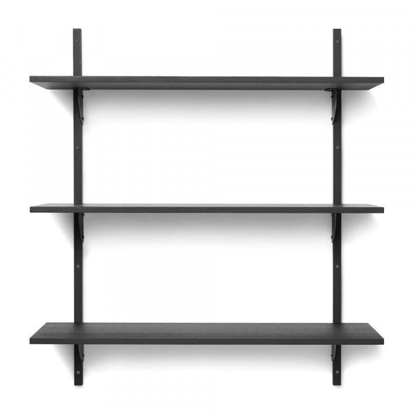 Ferm Living Wandregal SECTOR dreifach breit Esche schwarz mit Messing schwarz