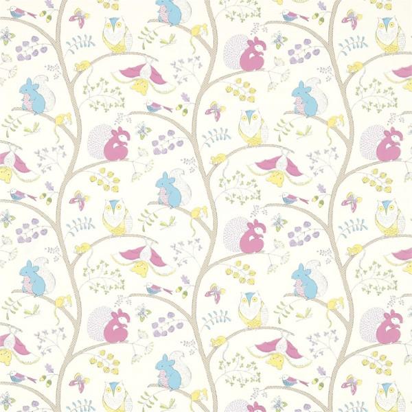 Little Sanderson Abracazoo Motivstoff Baumtiere pink blau