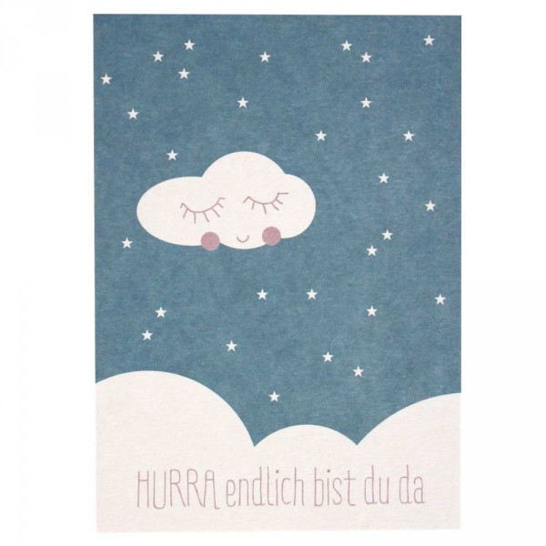 Ava & Yves Postkarte Geburt Wolke blau