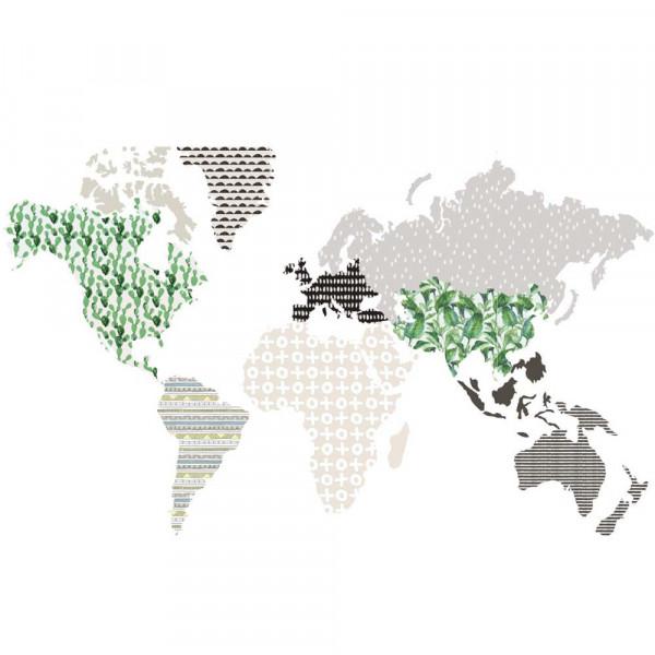 Dekornik Wandsticker Weltkarte braun grün