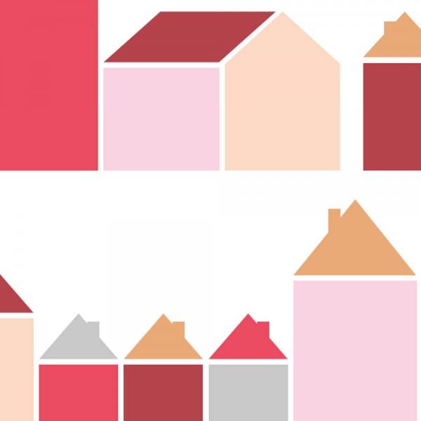Inke Tapeten Wandbild Häuser rot