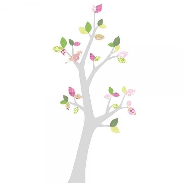 Inke Tapetenbaum 3 Stamm silber Blätter rosa grün