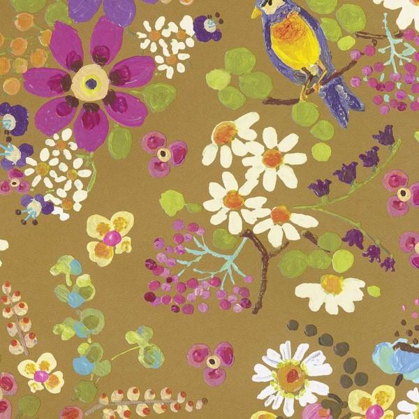 Rice Tapete Sommerblüten gold