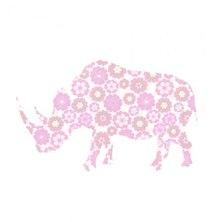 Inke Tapetentier Nashorn Blumen rosa