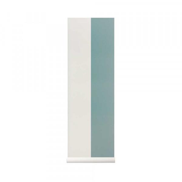 Ferm Living Tapete breite Streifen rauchblau fast weiss