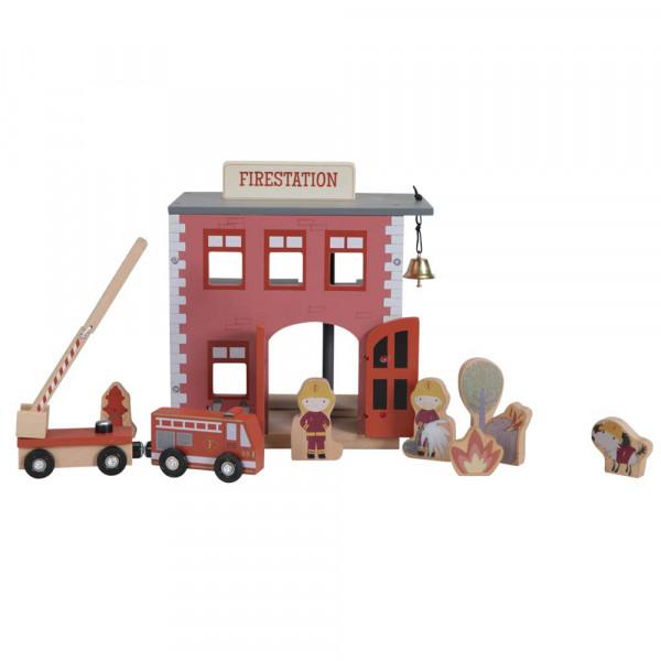 Little Dutch Spielzeug Feuerwehr Station Holz