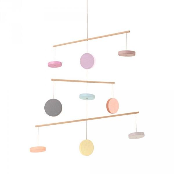 Plan Toys Mobile Kreise Holz pastell