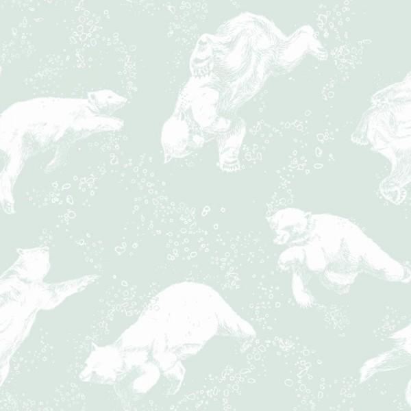 Boras Tapeter Kindertapete Polarn Eisbären mint