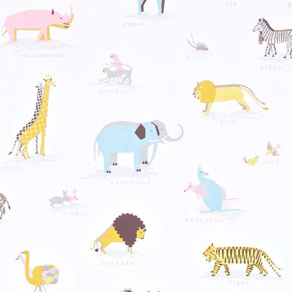 Little Sanderson Abracazoo Motivstoff Safari Tiere creme rosa grau