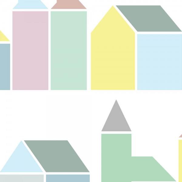 Inke Tapeten Wandbild Häuser pastell