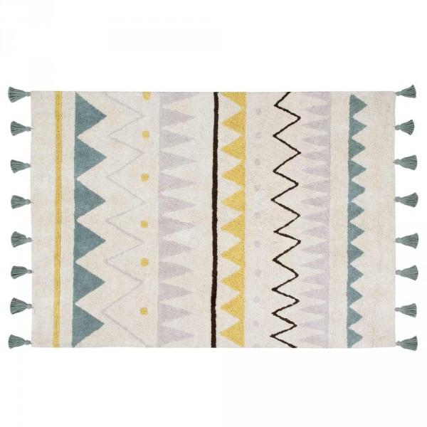 Lorena Canals Teppich Azteken Muster natur rauchblau