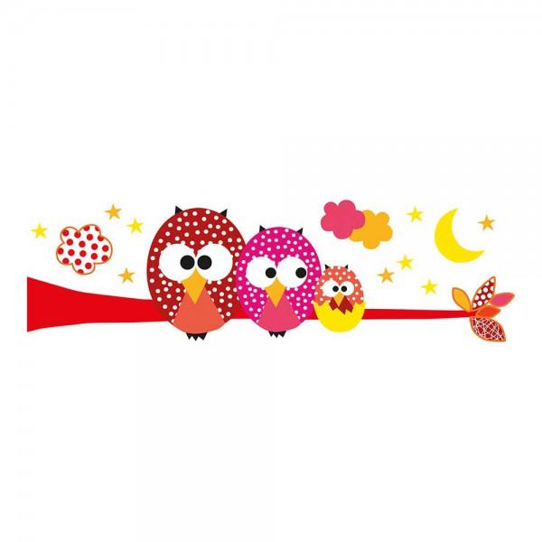 Lilipinso Wandsticker XL Drei Eulen auf Ast rosa rot