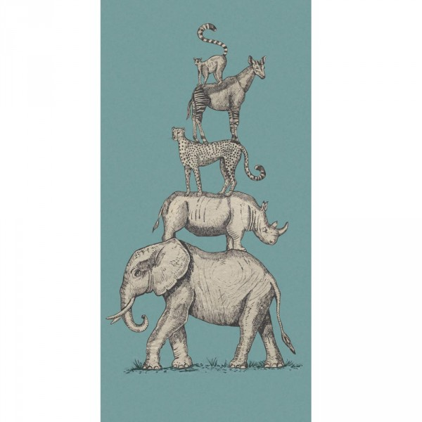 Eijffinger Wandbild Safari Tiere blau
