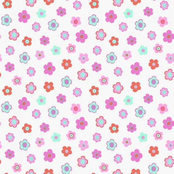 Rasch Textil Everybody Bonjour Tapete Blumen pink mint