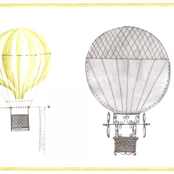 Casadeco Bordüre Ballons grau lime Jules & Julie