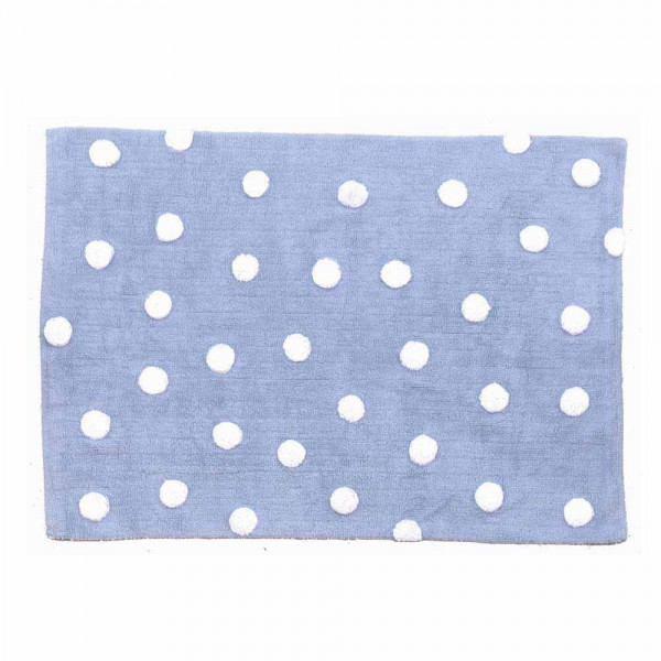 Lorena Canals Baumwollteppich waschbar Punkte blau 120 x 160