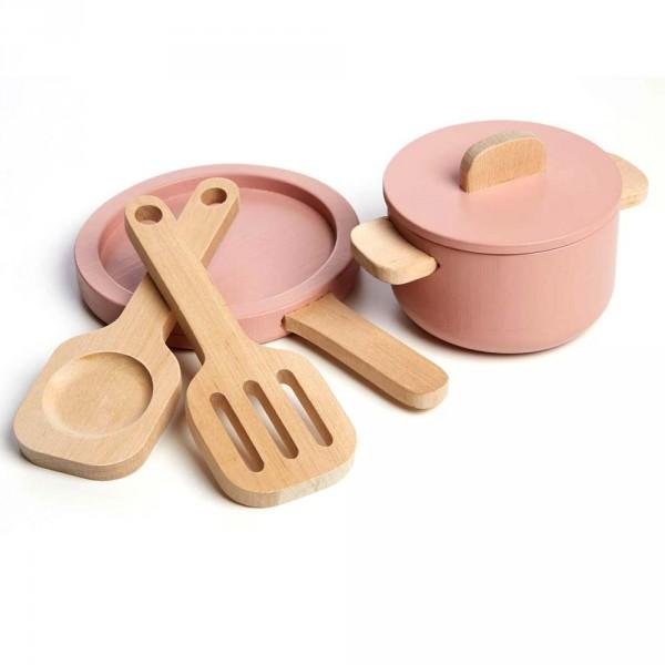 Flexa Kinder Topf- und Pfannenset Holz rosa