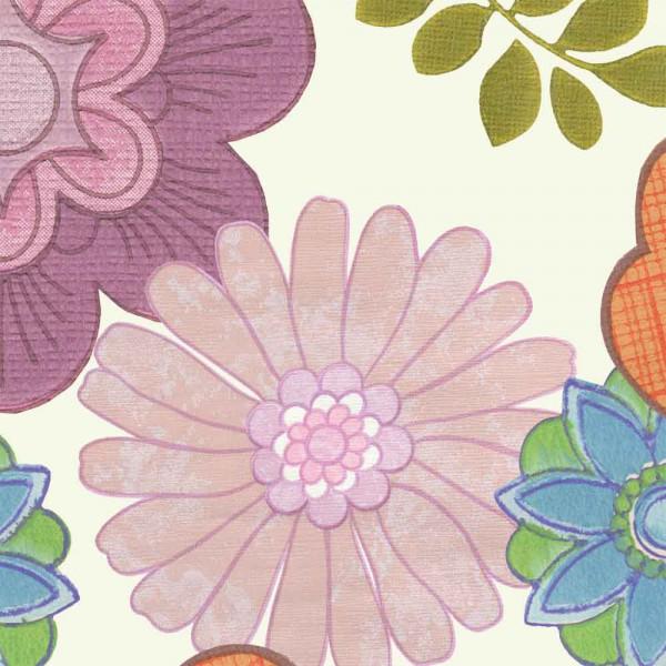 Inke Tapeten Wandbild Vintage Blumen creme