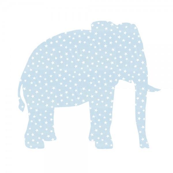 Inke Tapetentier Elefant hellblau Sterne weiss