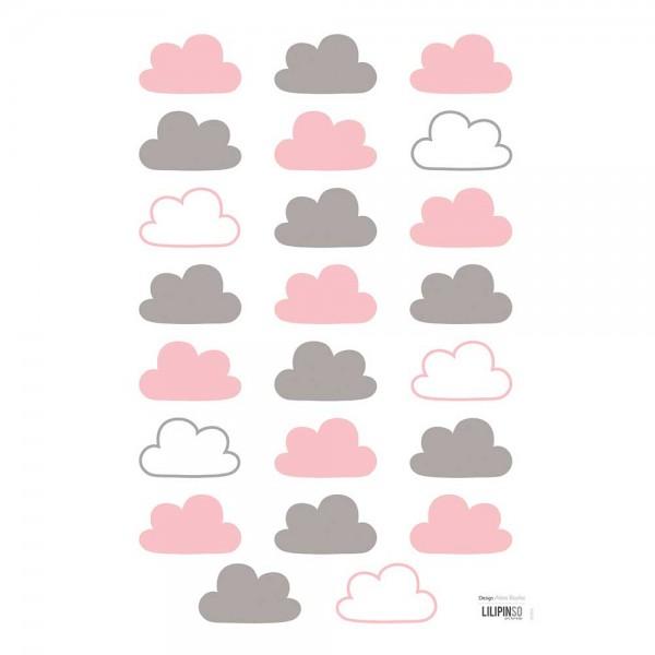 Lilipinso Wandsticker A3 Wolken rosa grau