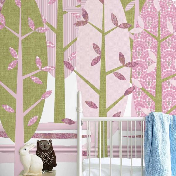 Inke Wandbild Wald rosa grün