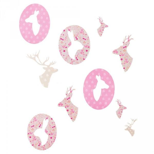 Caselio Ohlala Wandsticker Waldtiere rosa