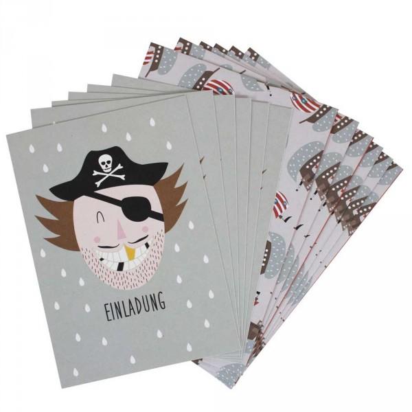 Ava & Yves Einladungskarten Kindergeburtstag Pirat