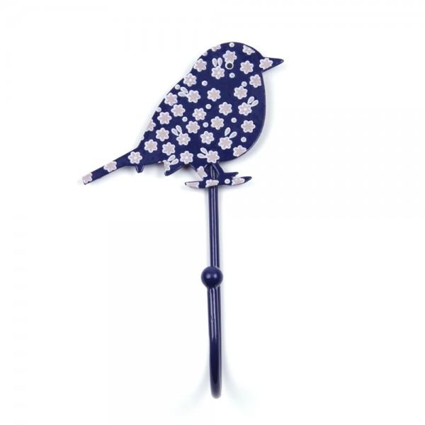 Knaufmanufaktur Kleiderhaken Vogel blau Blümchen