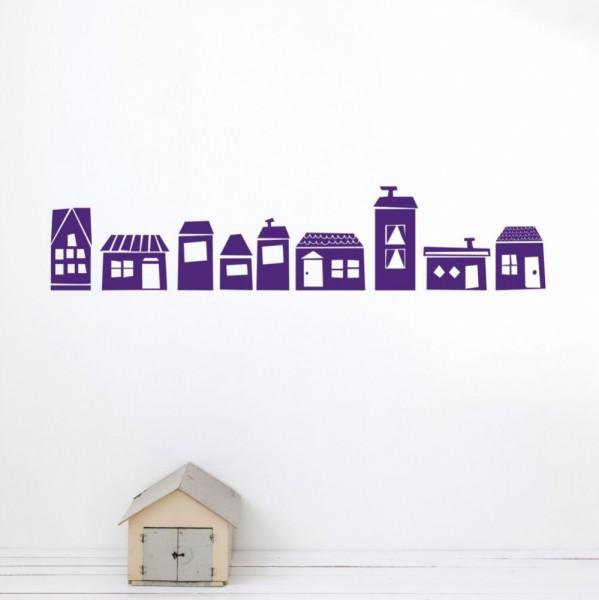 Ferm Living Wandsticker Häuser lila