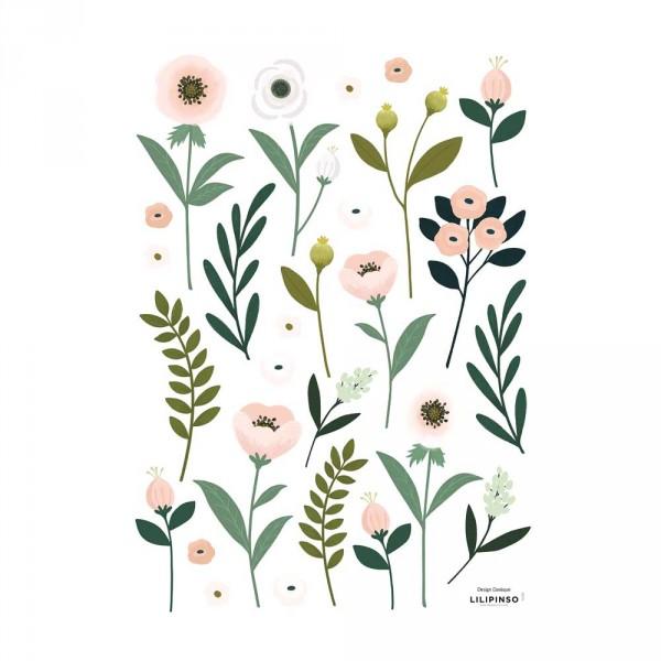 Lilipinso Wandsticker A3 Blüten und Blätter rosa grün