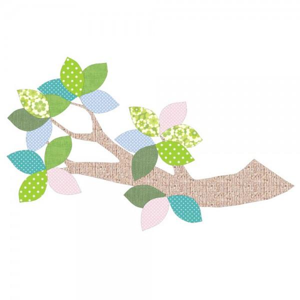 Inke Tapetenast braun Blätter grün blau rosa