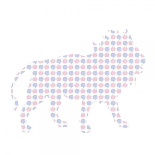 Inke Tapetentier Löwe Apfelmuster blau rosa