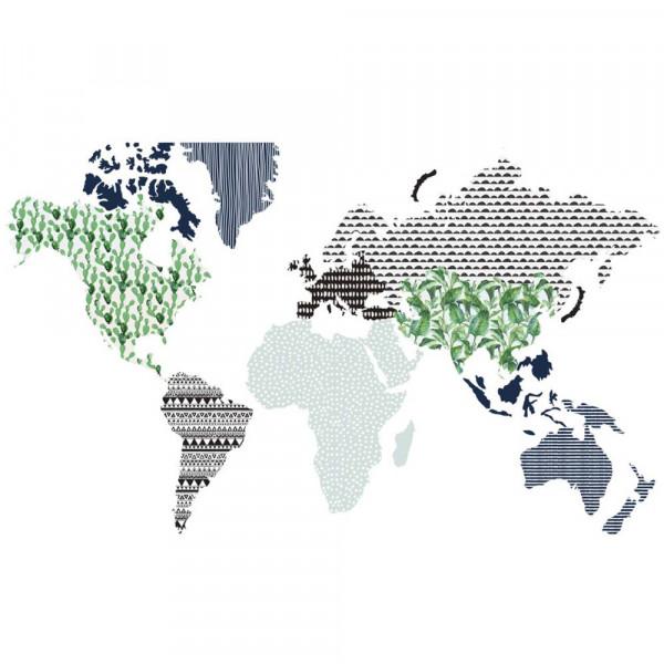 Dekornik Wandsticker Weltkarte blau