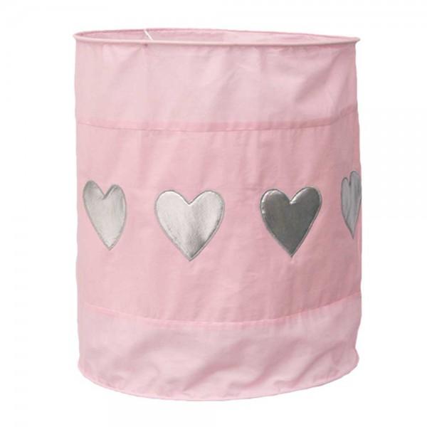 Taftan Lampenschirm geknittert rosa silber Herzen