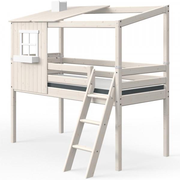 Flexa halbhohes Bett Haus mit halbem Dach weiss
