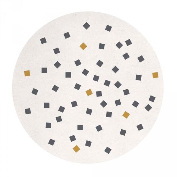 Lilipinso Teppich rund kleine Quadrate ocker grau auf weiss