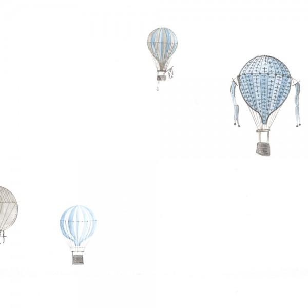 Casadeco Tapete Heissluftballons blau grau Jules & Julie