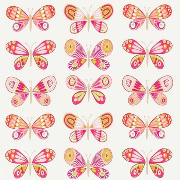 Scion Guess Who Stoff Schmetterlinge pink orange