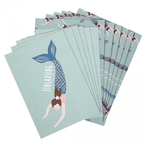 Ava & Yves Einladungskarten Kindergeburtstag Meerjungfrau