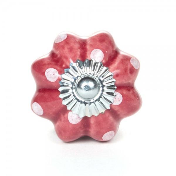 Knaufmanufaktur Möbelknopf Blume Keramik bordeaux Punkte weiss