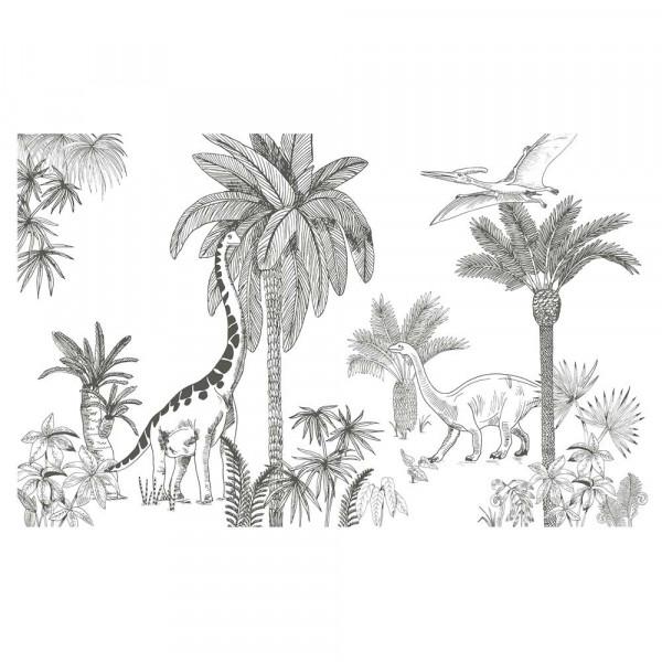 Lilipinso Vlies Wandbild Dinosaurier mit Palmen grau