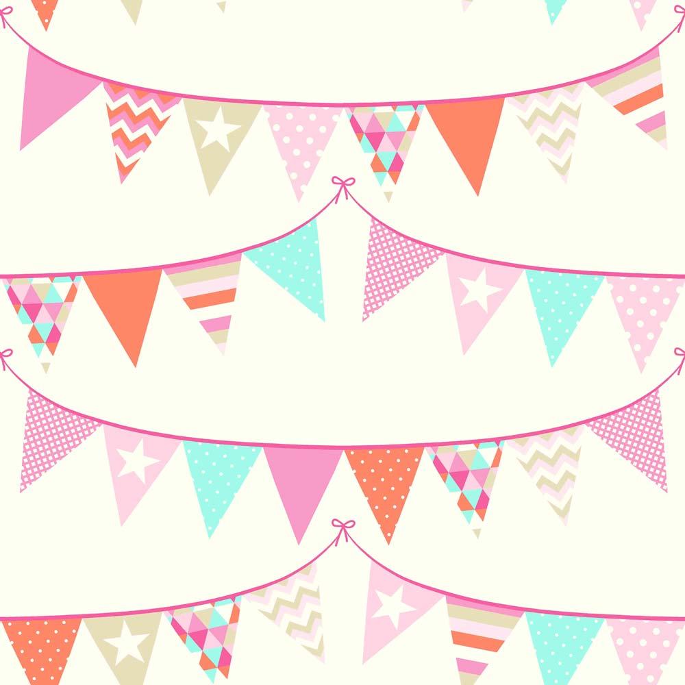 Rasch textil everybody bonjour tapete wimpel rosa t rkis bei kinder r ume - Wimpel babyzimmer ...