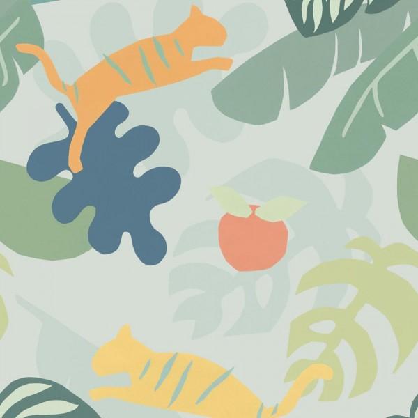 Eijffinger Wandbild Tiger im Dschungel orange gelb grün