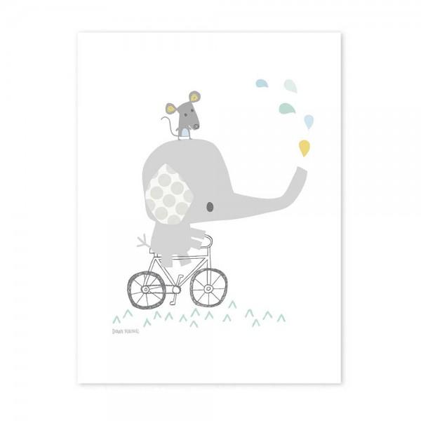 Lilipinso Poster Elefant mit Fahrrad