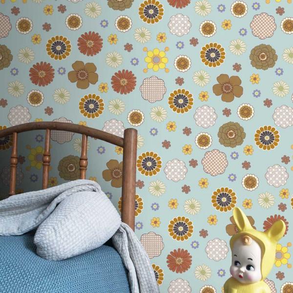 Inke Wandbild retro Blumen hellblau