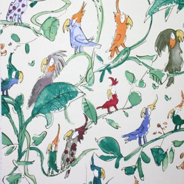Osborne & Little Tapete Kakadu grün rot
